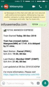 train status through whatsapp